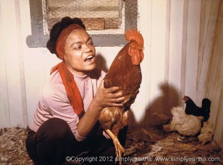 A Fox In The Henhouse. Eartha Kitt and her chickens