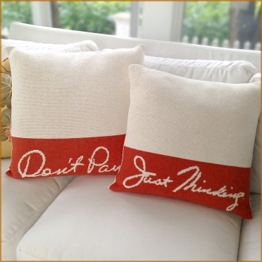 Simply Eartha Throw Pillows - Don't Panic and Just Thinking in Milk and Spice