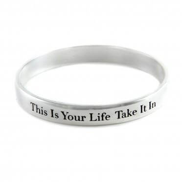 This Is Your Life silver bangle bracelet