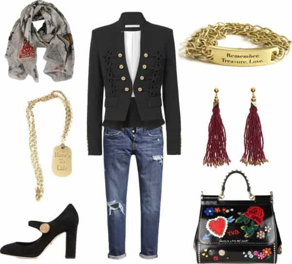 denim Dolce and Gabbana gold necklace suede shoes Faliero Sart scarf chain bracelet Veronica Beard military jacket
