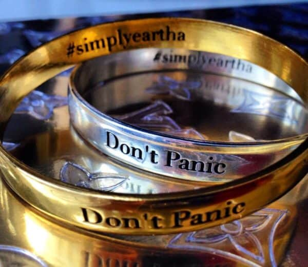 bangle bracelet, silver, gold, made in usa, anxiety help, don't panic, jewelry