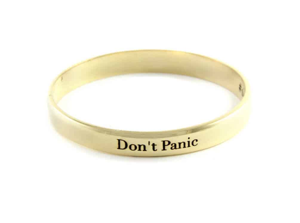 Don't Panic, gold bangle, anxiety help, stylish jewelry
