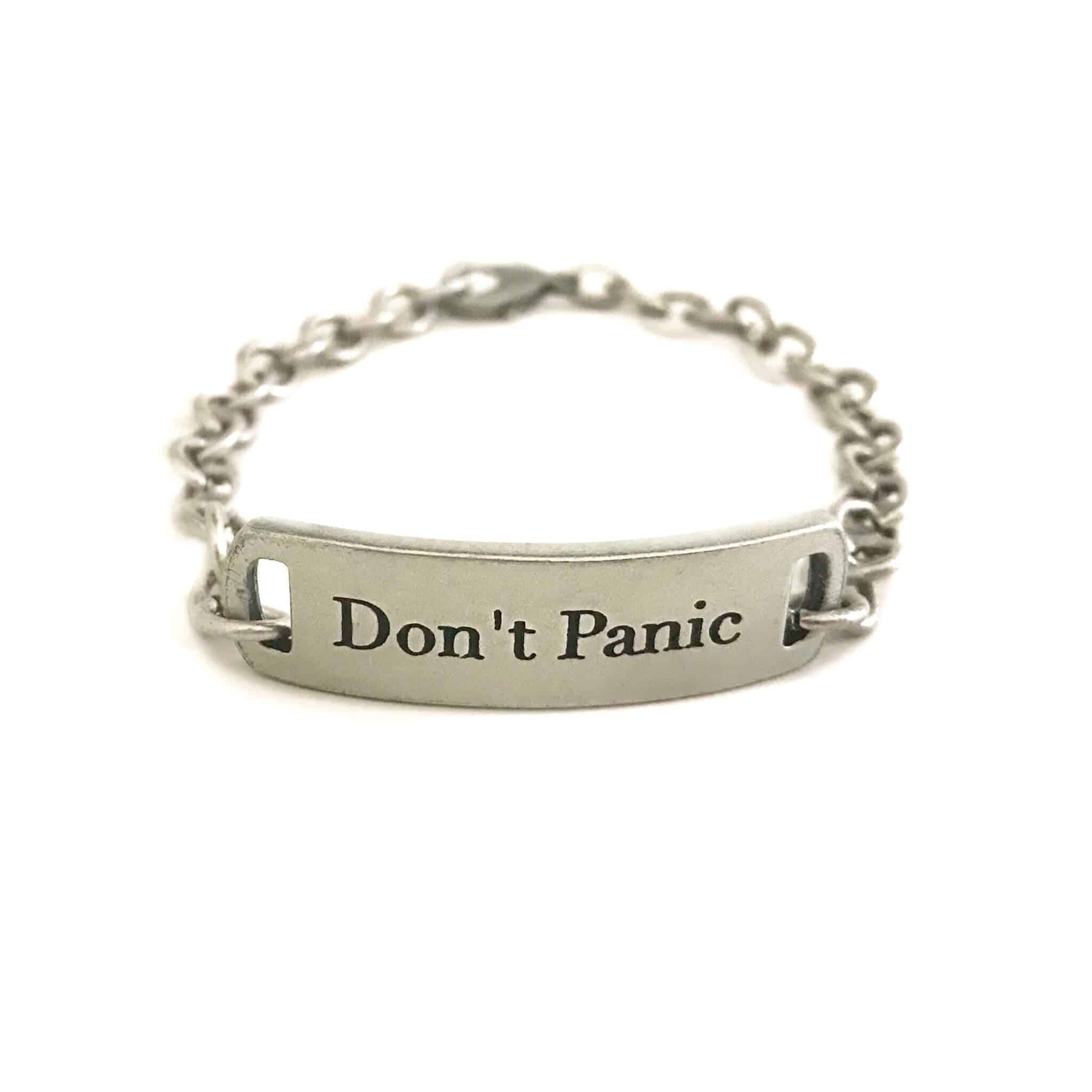 Don't Panic self-help graduation gift bracelet