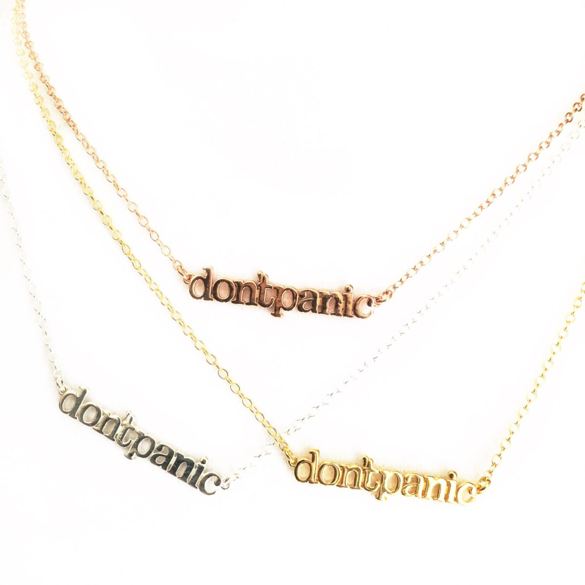 gold chain necklace, don't panic, graduation gift, hoilday reminder