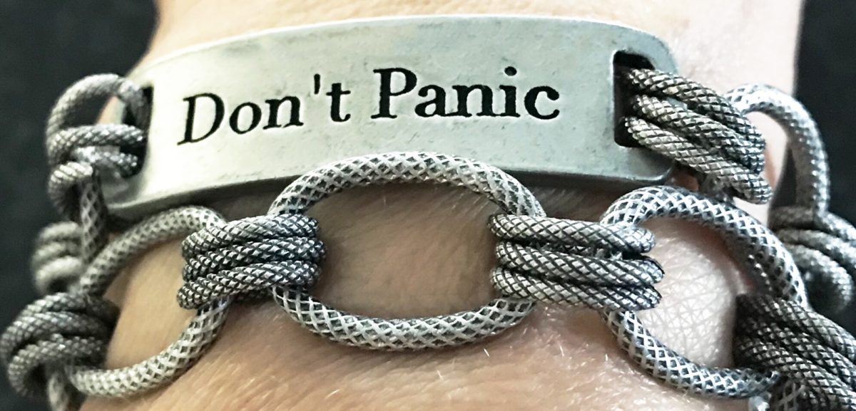 silver chain bracelet, don't panic, id bracelet, help for anxiety