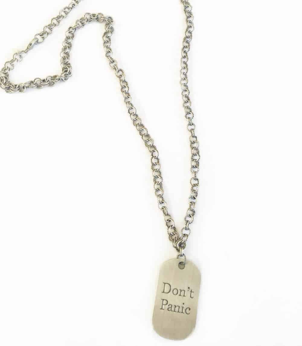 Simply Eartha Don't Panic dog tag silver