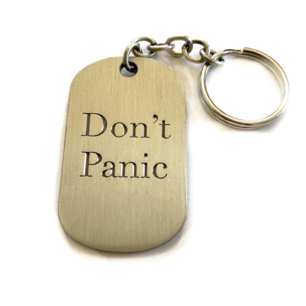 Simply Eartha Don't Panic keychain