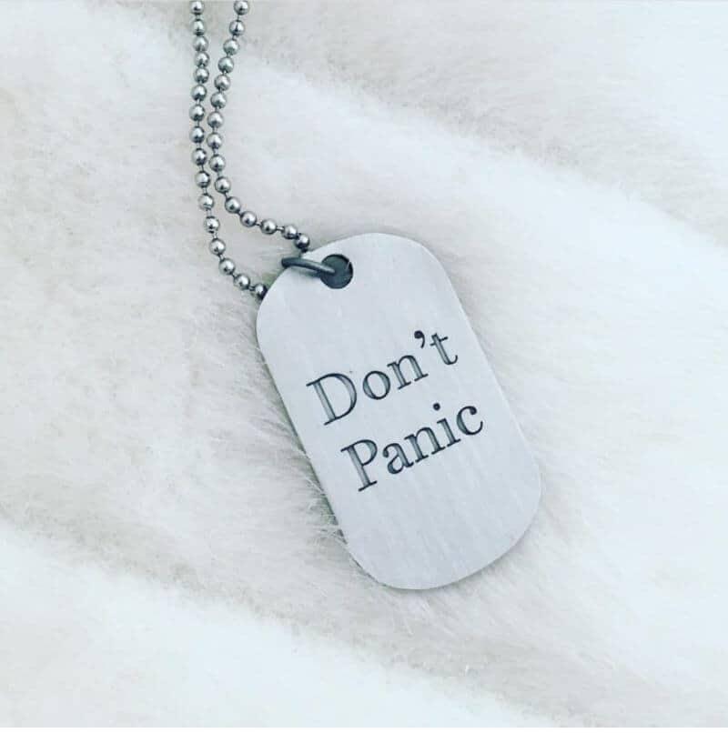 Simply Eartha Don't Panic dog tag
