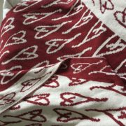 Eartha Kitt's Handrawn Heart Throw Pomegranate/Milk