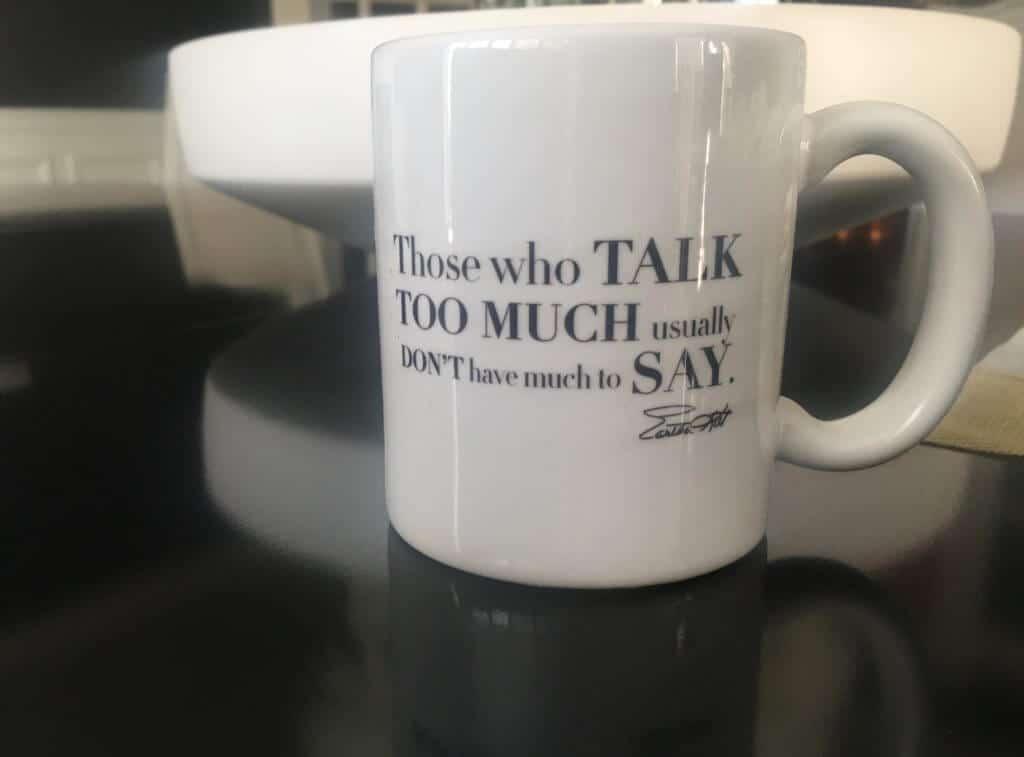 Eartha Kitt's wisdom mug. Made in USA