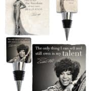 Eartha Kitt coasters and bottle stoppers