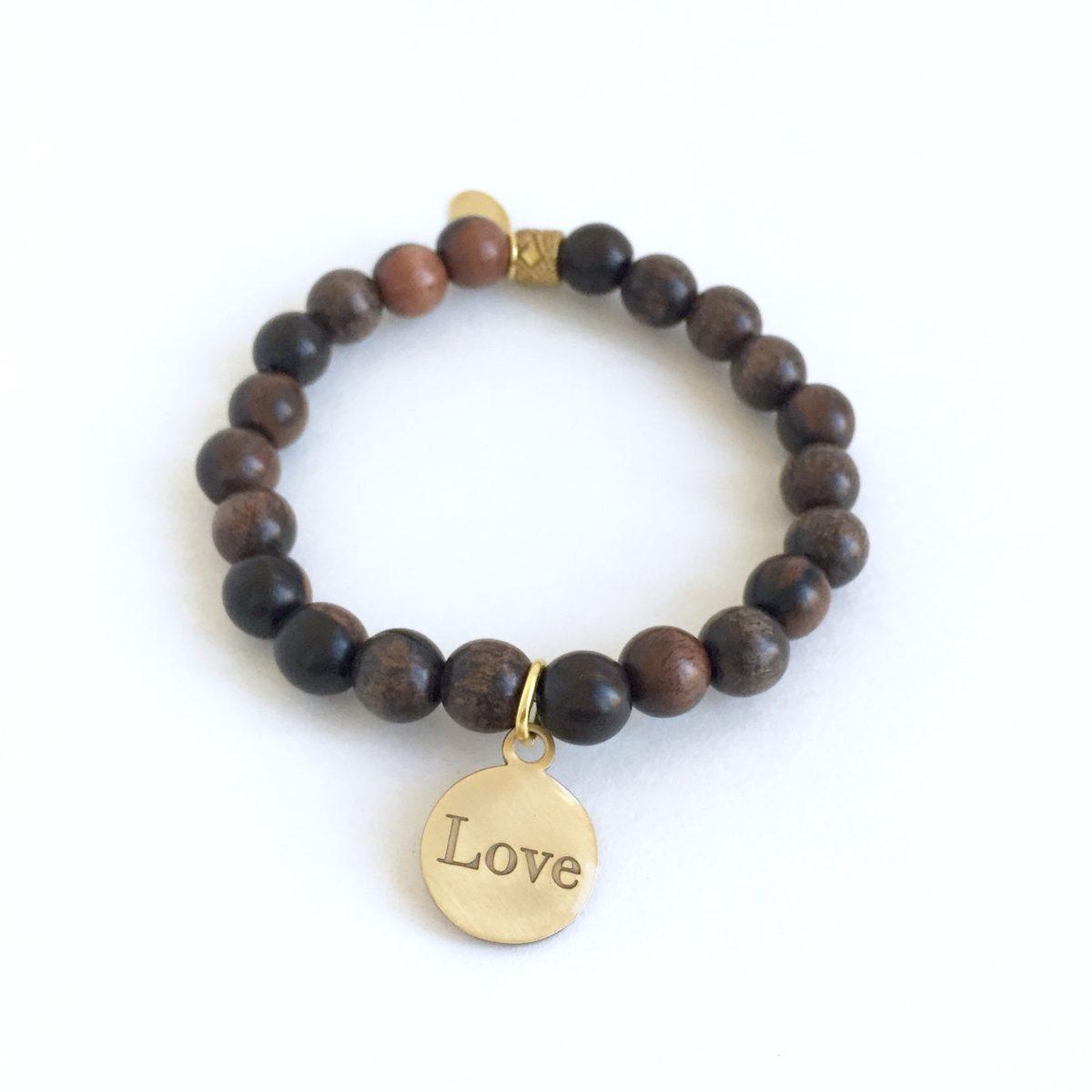Simply Eartha Love charm bracelet in wood