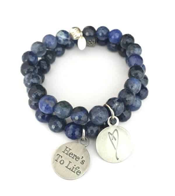 Simply Eartha heart charm sodalite bracelet, wear blue for colon cancer awareness month