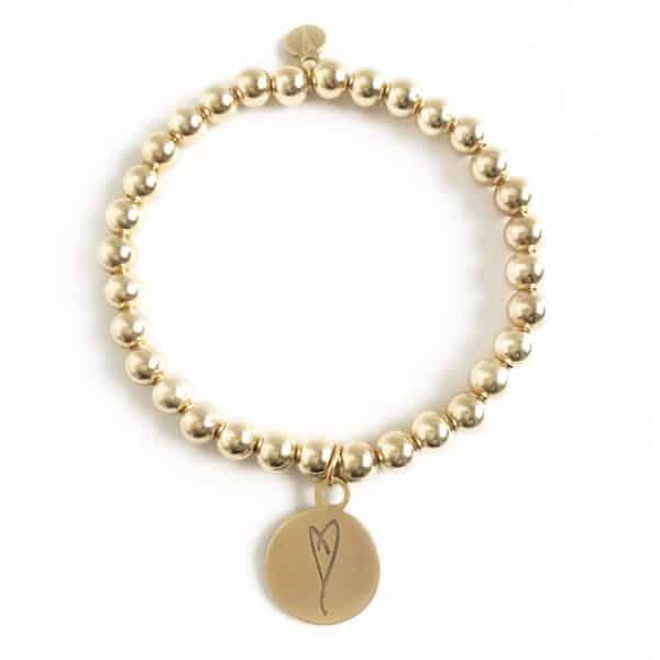 heart charm bracelet 14k gold beads
