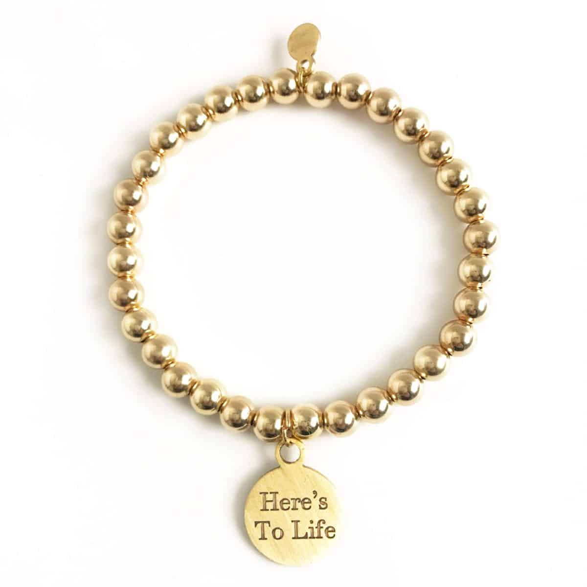 gold beads heart stretch bracelet
