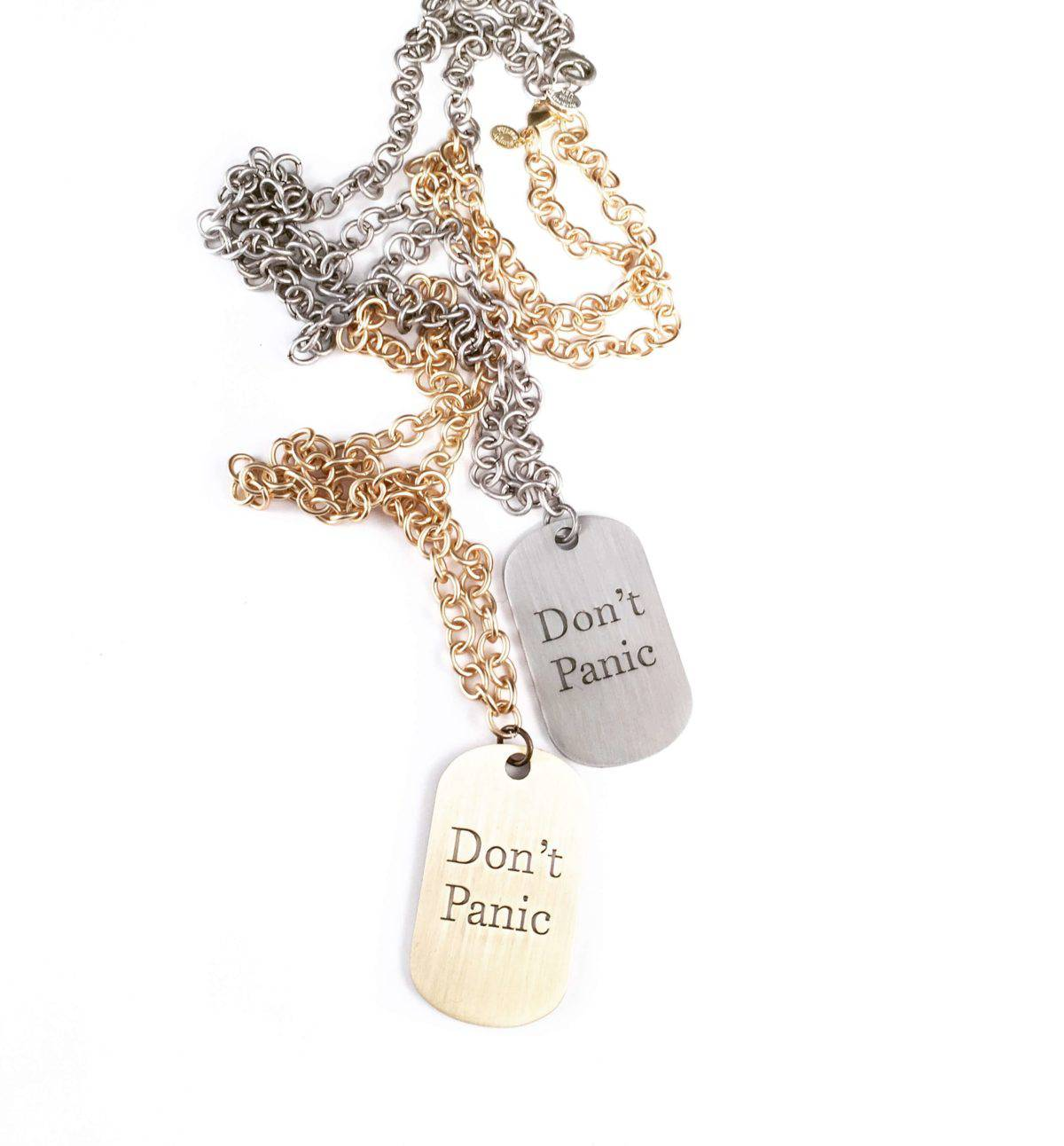 Simply Eartha Don't Panic necklaces