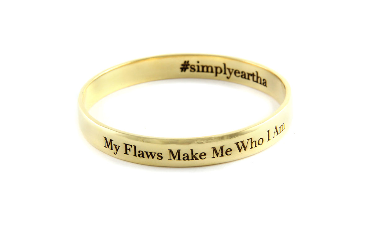 My Flaws Make Me Who I Am bangle gold