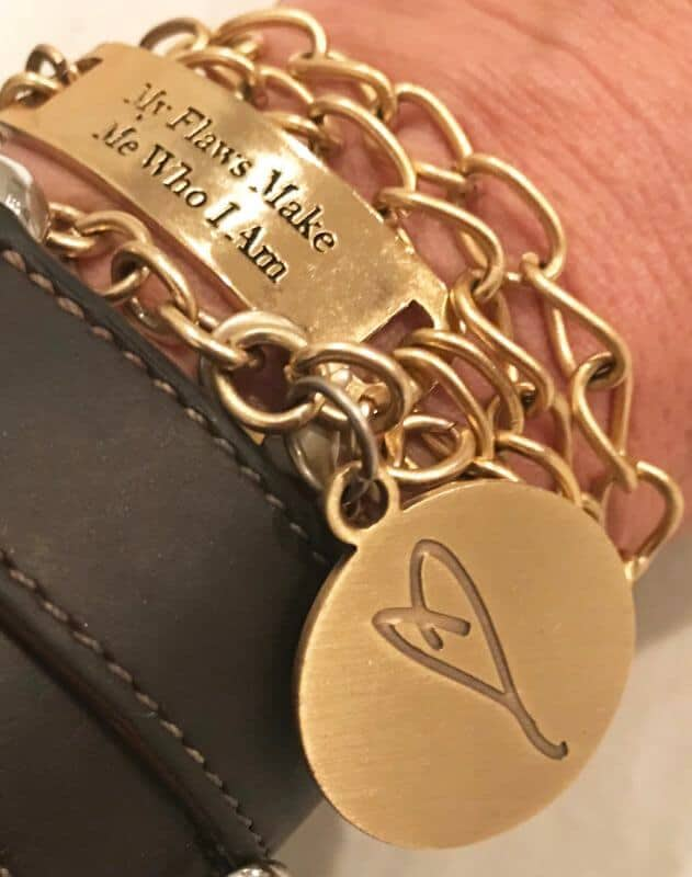 gold chain charm bracelets, words, heart
