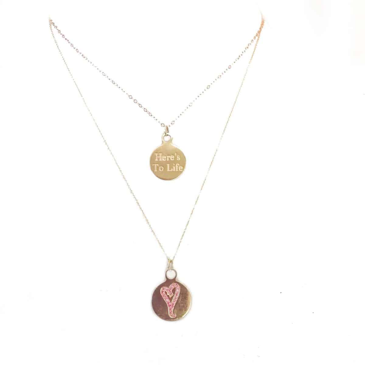 love is precious, pink hearts, celebrate life, 14k gold charm necklace, here's to life heart charm