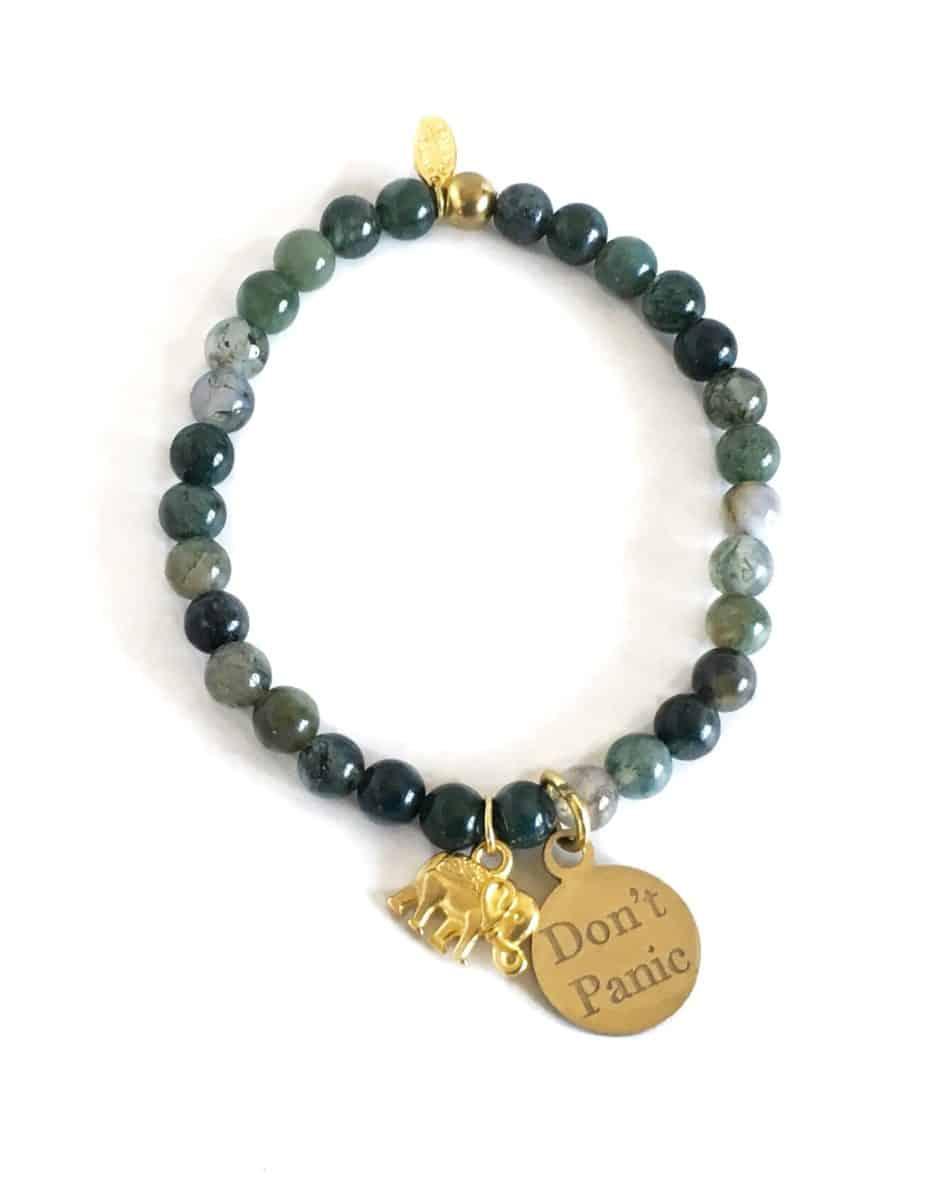 Don't Panic, relax, anti-anxiety, Elephant bracelet, anxiety help, charm bracelet