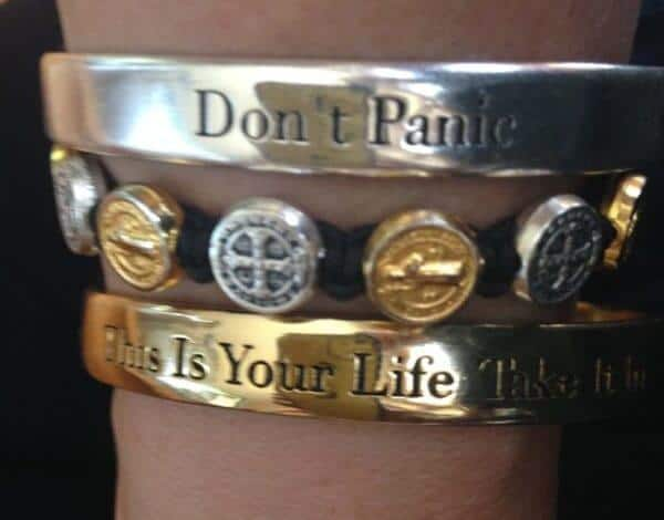 don't panic bracelet, my saint my hero bracelet, anxiety help, bracelet stack