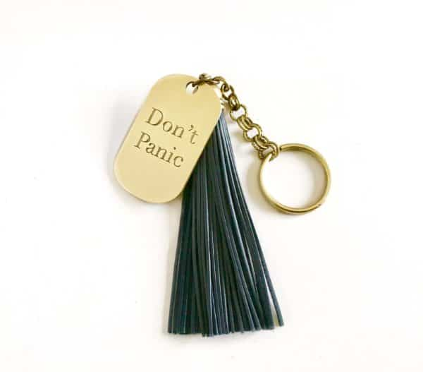 Don't Panic key chain with tassle