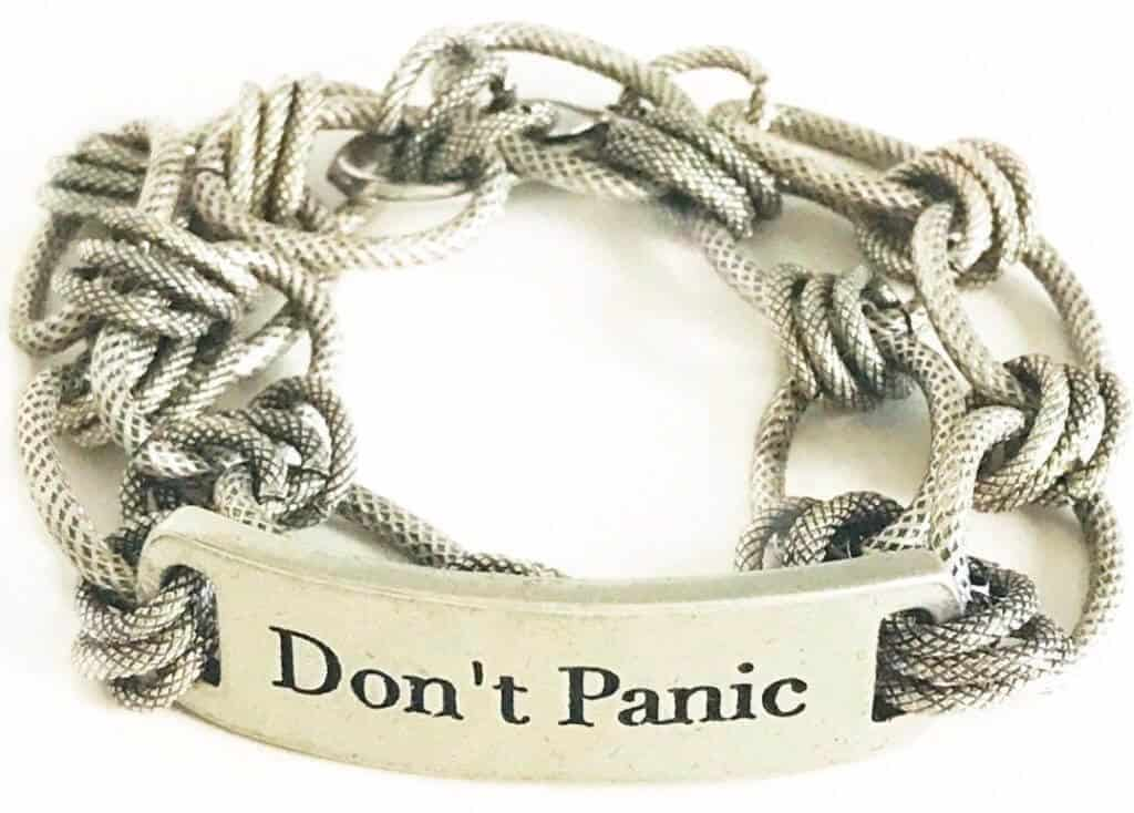 Don't Panic, chunky, oxidized silver chain, bracelet, graduation gift, holiday gift, birthday gift, wisdom