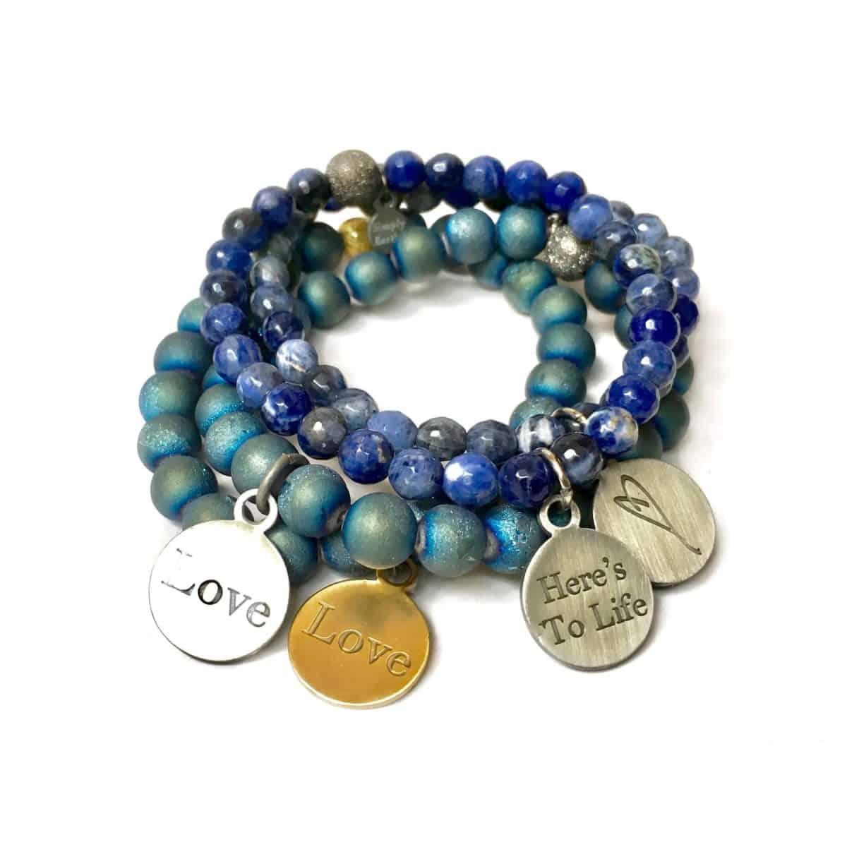 Simply Eartha Sodalite bracelets with Druzy bracelets
