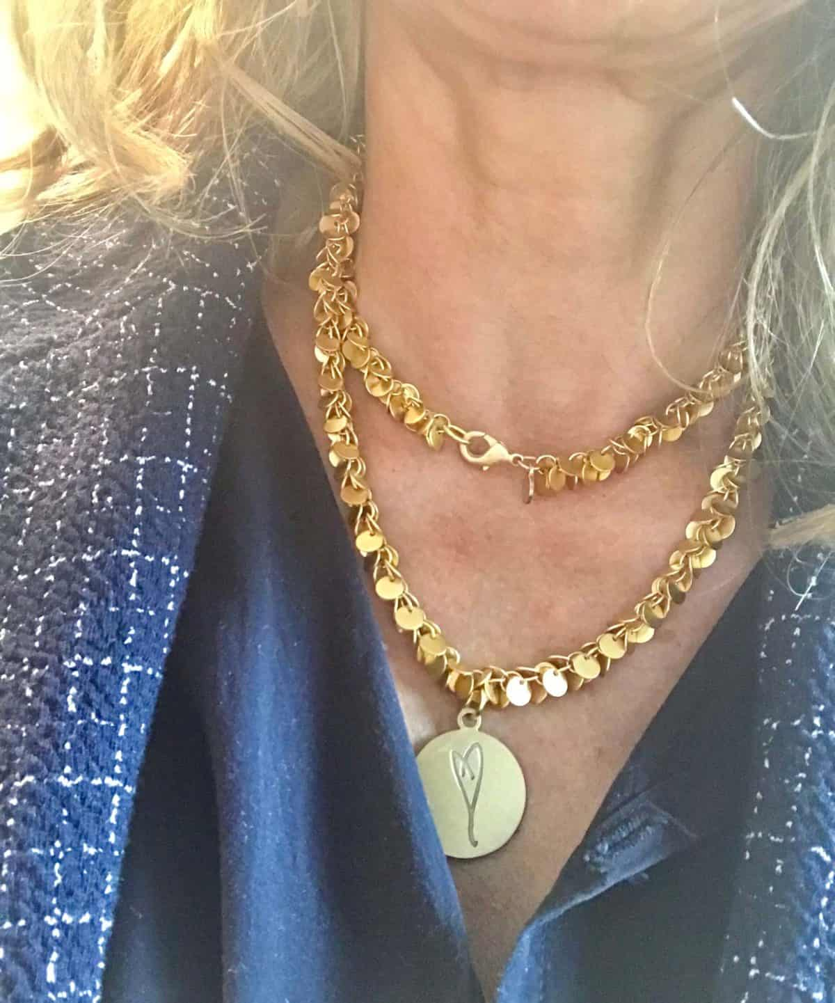 I wear Blue for Colon Cancer Awareness Month with the Here's To Life/Eartha Kitt's Heart necklace