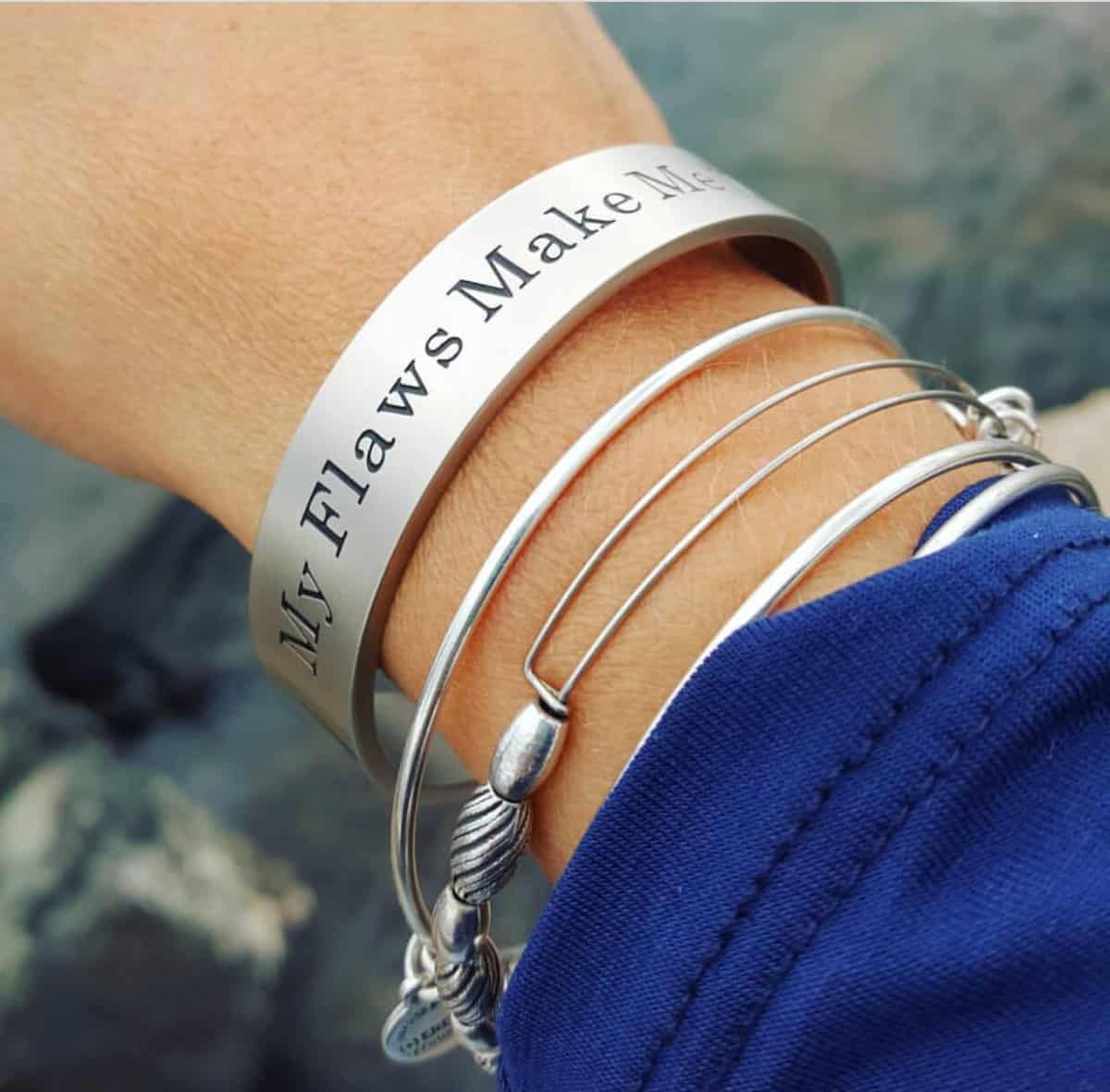 My Flaws Make Me Who I Am cuff bracelet