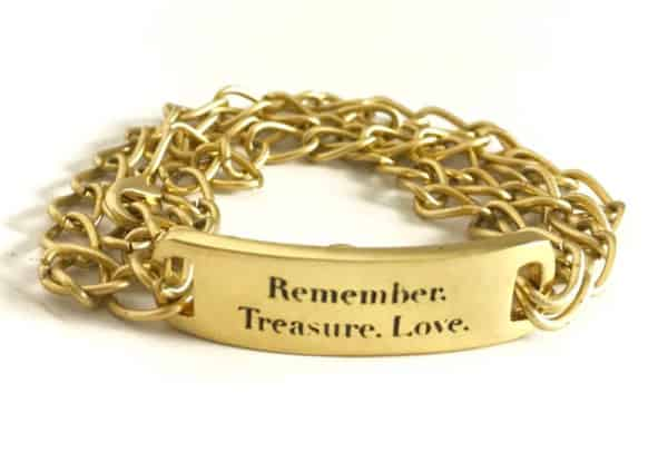 Remember to Treasure and Love with this gold chain bracelet