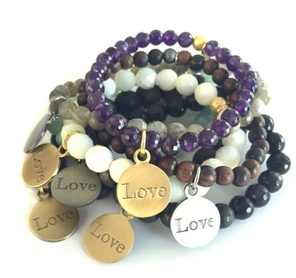 Simply Eartha Love charm bracelets many colors