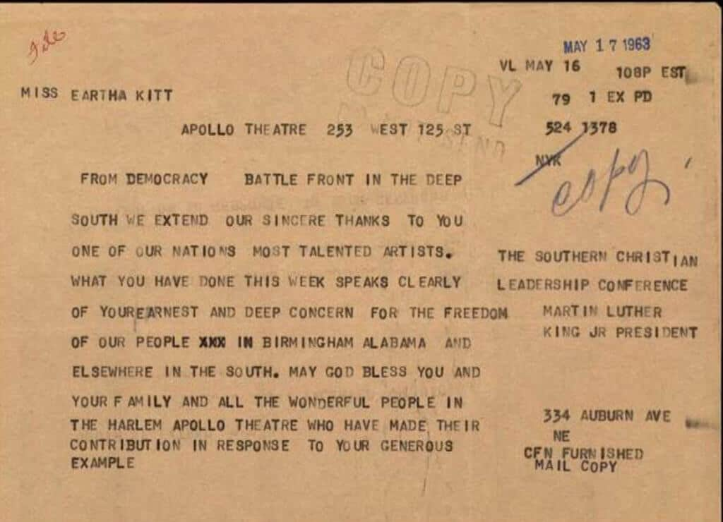 Telegram from Martin Luther King to Eartha Kitt