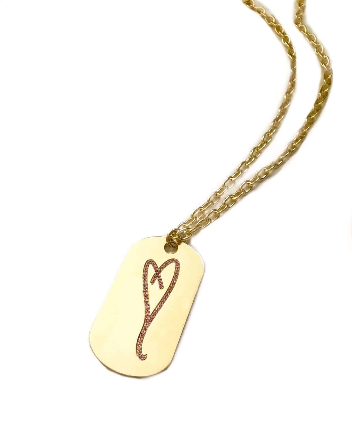 14k gold and pink sapphire heart necklace